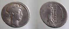Ancient Coins - Q.POMPONIUS MUSA.56 BC.AR DENARIUS.Urania - The Muse of Astronomy