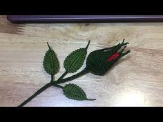 Crochet Rosebud, Leaf and Sepal ดอกกุหลาบตูมพร้อมประกอบ (New) Crochet Puff Flower, Crochet Flower Tutorial, Crochet Leaves, Crochet Flowers, Crochet Bookmark Pattern, Crochet Bookmarks, Yarn Flowers, Paper Flowers, Flower Video