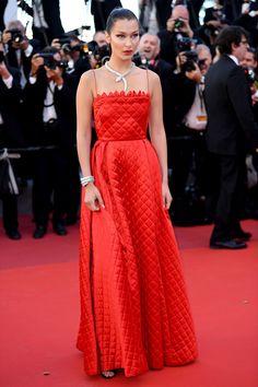 Bella Hadid in a Christian Dior dress and Bulgari jewelry