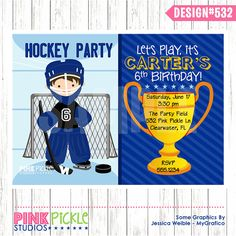 HOCKEY GOALIE INVITATION or Thank You Card by PinkPickleParties, $10.00