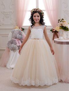 Elegant Champagne Sheer neckline Tulle First Communion Dresses for Girls  Lace Sashes Prom Dress Children Vestidos de Comunion-in Flower Girl Dresses  from ... 3fabfad10d29
