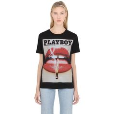 Playboy Women Lip Printed Cotton Jersey T-shirt ($48) ❤ liked on Polyvore featuring tops, t-shirts, black, playboy t shirts, lip top, cotton jersey t shirt, lips t shirt and lips tee
