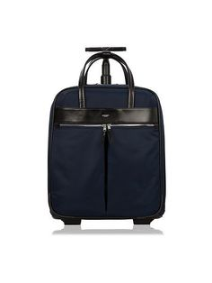 Cool tech gifts for travelers: The gorgeous Knomo London Burlington laptop roller bag with real leather trim