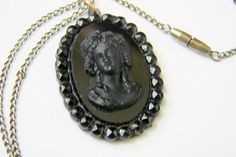 Antique Victorian Hand Carved Whitby Jet Cameo Pendant /