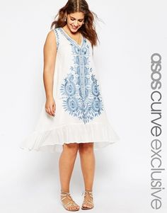 ASOS CURVE V-Neck Swing Dress With Embroidery