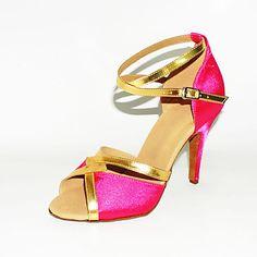 op maat two tone satijn latin / ballroom prestaties schoenen (meer kleuren)