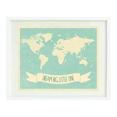 Dream Big, Little One Quote Art Print 8x10-World Map-Grayed Jade-Cream-Kids Room-Baby Boy or Girl Nursery-Playroom-Home Decor via Etsy
