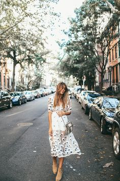 awesome Fancy on a Monday NYC Fashion Tessa Barton embroidered dress. by Asilio Street Style 2017, Looks Street Style, Nyc Fashion, Look Fashion, Fashion Outfits, Womens Fashion, Fashion Tips, Ladies Fashion, Street Fashion