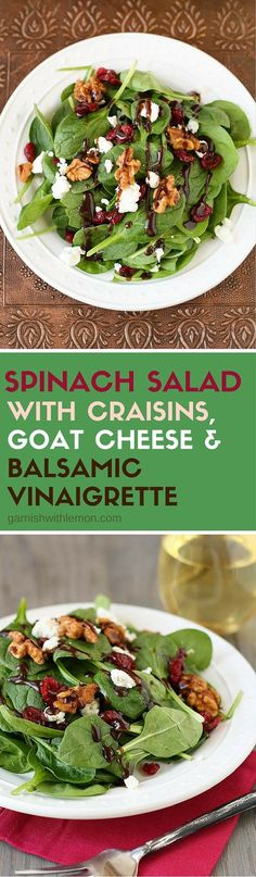 Forget To Buy Salad Dressing At The Store? Our Simple Spinach Salad With Homemad. - Forget To Buy Salad Dressing At The Store? Our Simple Spinach Salad With Homemade Balsamic Vinaigre - Healthy Salads, Healthy Eating, Healthy Recipes, Taco Salads, Simple Spinach Salad, Spinach Salads, Spinach And Goat Cheese Salad, Dressing For Spinach Salad, Simple Salads