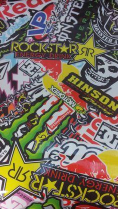 Rockstar monster red bull energy sticker bomb