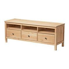 IKEA - HEMNES, Mueble TV, marrón claro, , La madera maciza tiene un aspecto natural.Guías de cajón ocultas que garantizan que el cajón se abra/cierre suavemente incluso cuando está muy lleno.Con compartimentos abiertos para el reproductor de DVD, etc.Los cajones grandes te ayudan a tener tus cosas ordenadas.