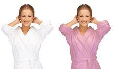 Ultra-Plush Microfiber Bathrobe in Pink or White. Free Returns.