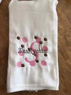 Spots and Dots embroidered burp cloth Personalized Pink and Purple