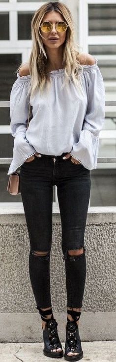 #summer #stylish #outfitideas | Baby Blue Off The Shoulder Top + Black Denim
