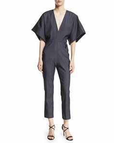6861d44c93a3 CUSHNIE Designer Deep-V Kimono-Sleeve Skinny Denim Jumpsuit Denim Jumpsuit