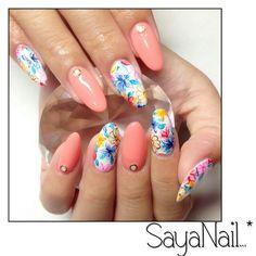 Watercolour flower nail art