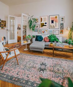 Mid-century boho interior with a large gallery wall using abstract art print of . - Mid-century boho interior with a large gallery wall using abstract art print of Jan Skacelik - Boho Living Room, Home And Living, Living Room Decor, Bedroom Decor, Modern Living, Wall Decor, Living Room With Plants, Living Room Gallery Wall, Fresh Living Room