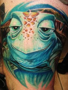 This stunning 3D tattoo is of Crush, a sea turtle character from the Pixar film Finding Nemo. Description from rattatattoo.com. I searched for this on bing.com/images