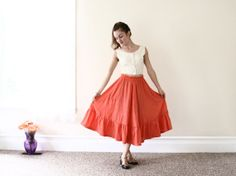 1970s high waist skirt / midi skirt / 70s high by aLaPlageVintage, $32.00