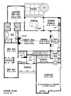 Plan of the Week under 2500 sq ft - The Golding 1327! 2069 sq ft, 3 beds, 2 baths. #WeDesignDreams