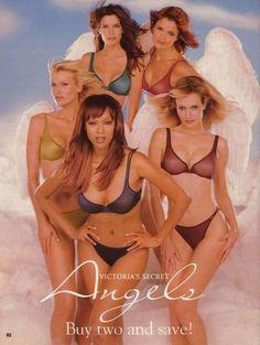 Angels: Stephanie Seymour, Helena Christensen, Daniela Pestova, Karen Mulder, Tyra Banks | via Tumblr