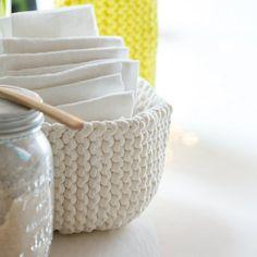 DIY déco: tricoter une corbeille                                                                                                                                                                                 Plus