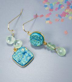 Beaded earrings. Unmatched earring. Druzy jewelry with by jbEbert
