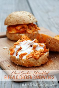 4th of July Chicken Recipes |  Shredded Slow Cooker Buffalo Chicken Sandwiches by Homemade Recipes at http://homemaderecipes.com/bbq-grill/juicy-4th-of-july-chicken-recipes