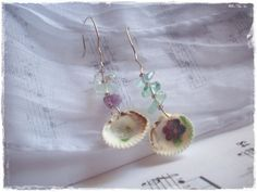 Summer Sea Shell Earrings With Purple Flowers by ChrisOsCreations, €9.00