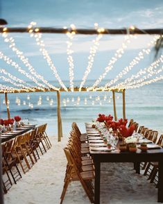 INSPO || Blue skies and white sand are the perfect back drop for a beach wedding - summer isn't over yet and we hope some of our brides-to-be will be tying the knot barefoot on the beach with a set up as gorgeous as this one! || Image via Pinterest by weddingandbride