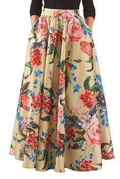Beige gold multi skirts, day-to-evening skirts, dry clean skirts Floral Skirt Outfits, Long Floral Skirts, Floral Maxi, Long Maxi Skirts, Evening Skirts, Printed Skirts, Fashion Dresses, 50s Dresses, Maxi Dresses