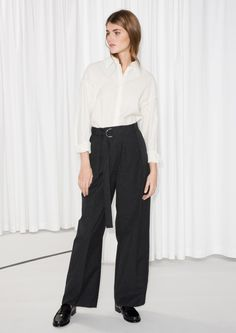 & Other Stories image 1 of Belted Trousers in Black