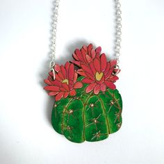 Colourful Cactus Flowers Jewellery Flower Necklace, Flower Brooch, Laser Cut Jewelry, Cactus Flower, Handmade Items, Handmade Gifts, Photography Props, Laser Cutting, Hand Painted