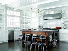 White, subway tile, rustic wood and dark floors!