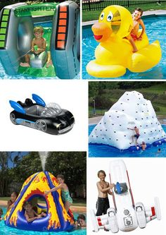 Some really cool pool accessories here-- especially the Batmobile raft.