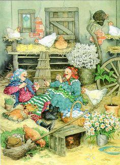 Inge Löök -Mummot maalaamassa pääsiäismunia