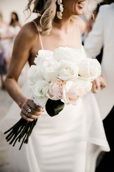 This Real Bride Had The Most Modern Wedding At Brisbane Hote.- This Real Bride Had The Most Modern Wedding At Brisbane Hotel wedding bouquet white roses - White Rose Bouquet, White Roses Wedding, Peony Bouquet Wedding, White Wedding Bouquets, Bride Bouquets, Burgundy Wedding, Wedding Dresses, Rose Boquet, Orchid Bridal Bouquets