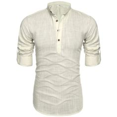 Mens Thin Henley Button-down Slim Fit Rollup Sleeve Shirt ($21) ❤ liked on Polyvore featuring men's fashion, men's clothing, men's shirts, men's casual shirts, mens long sleeve henley shirts, mens slim shirts, mens short sleeve casual shirts, mens thin t shirts and mens slim fit button down shirts