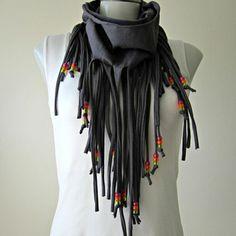 Infinity Fringe Scarf with beads, tshirt fringe scarfs, boho scarf ...