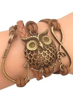 Owl Infinity & Hope Wrap Bracelet...I want this!! So cute!!
