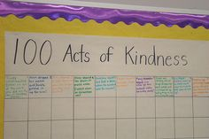 100 Acts of Kindness - 100 days of school project to start at the beginning of the year