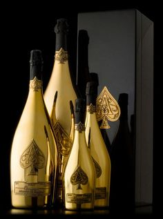 shiny gold champagne bottles-just like the design. Not interested past that.
