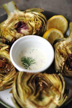 Grilled artichokes with garlic lemon aioli - gluten free + dairy free