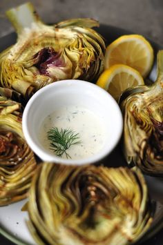 Grilled artichokes with garlic lemon aioli - gluten free + dairy free