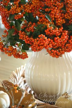 In this fall Kitchen Table Vignette, I cut a big bunch of bright orange pyracantha from our bush outside and put it into a large white pitcher. Autumn Decorating, Decorating Ideas, Decor Ideas, Fall Arrangements, Floral Arrangement, Thanksgiving Table Settings, Fall Table, Fall Harvest, Harvest Time