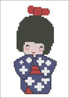 Fuyu - Winter Kawaii Kokeshi Doll Japan Cross Stitch Pattern
