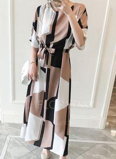 Dresses - $44.33 - Cotton Color Block Half Sleeve Maxi Casual Dresses (1955142578)
