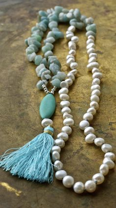 Amazonite and pearl long tassel necklace. Shade of turquoise and white.