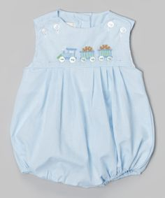 Another great find on #zulily! Blue Train Bubble Bodysuit - Infant #zulilyfinds