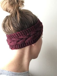 Dark red chunky knit cabled headband, cabled earwarmers, winter accessory, made from supersoft merino wool. One of a kind!